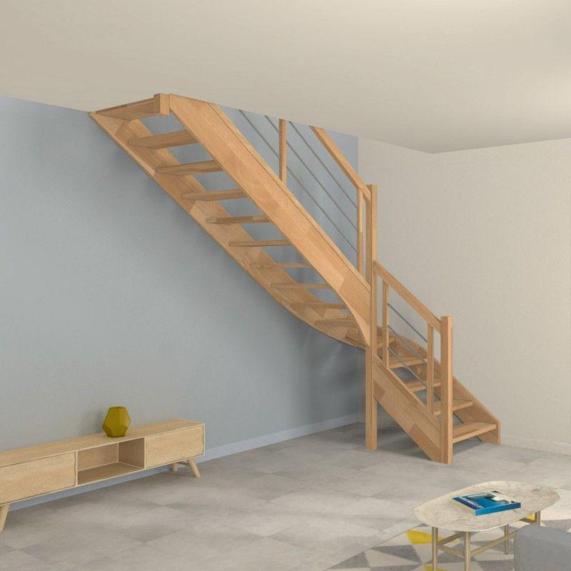 Escalier 1 4 Tournant Bas Contemporain En Bois Et En Inox Deco
