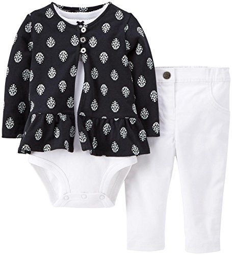 b19c7fa12efe Carters Baby Girls 3 Piece Print Cardigan Set Baby White 6 Months ...