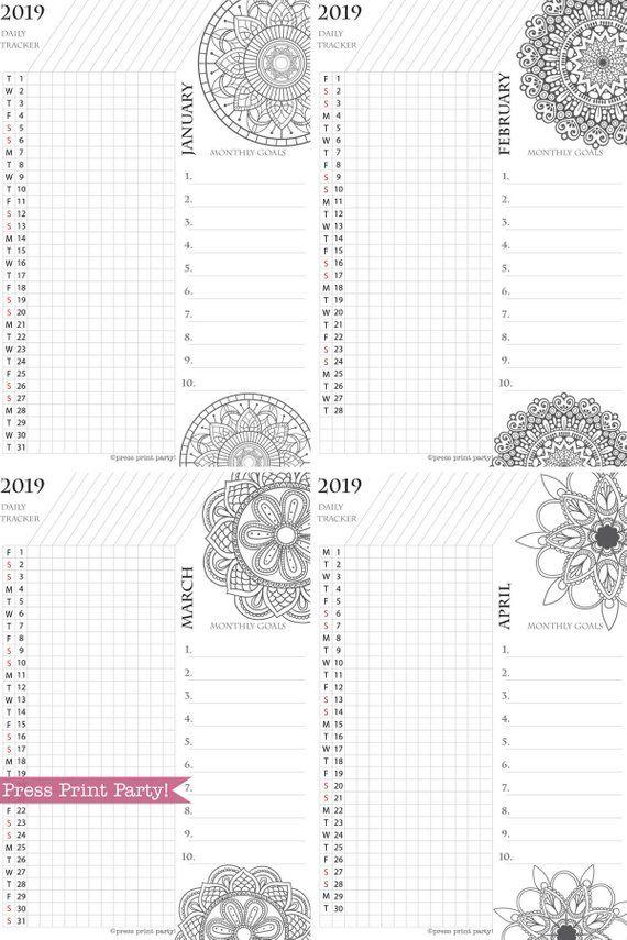 2019 Calendar Printable Set Mandala Coloring Calendar