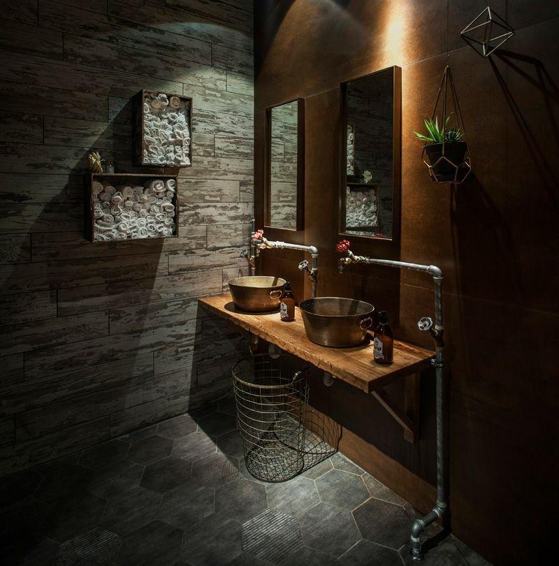 Gewürz Gartengestaltung im Restaurant - WC mit industrieller ...