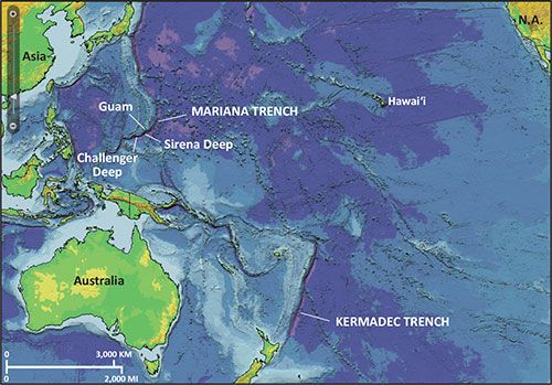 Map of Western Pacific Ocean, showing location of Mariana Trench and ...