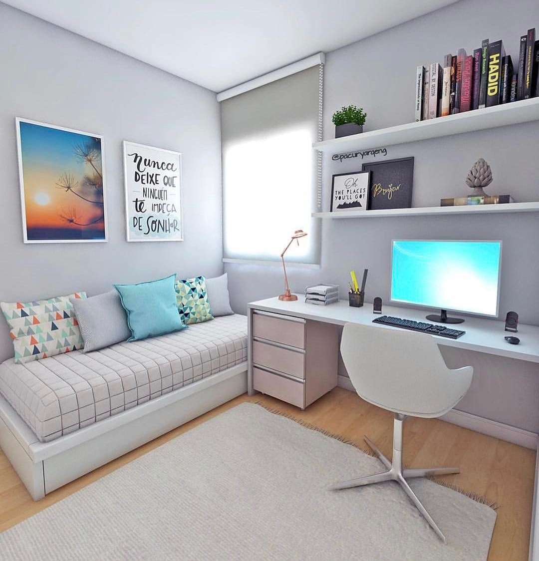 Projeto Clean Que Atende Tanto A Um Quarto De Solteiro Quanto Para  ~ Home Office No Quarto De Solteiro