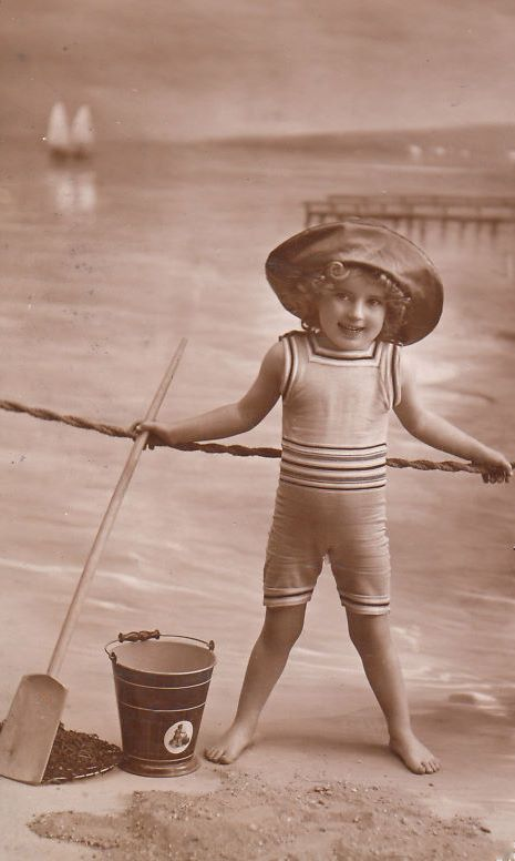 Bumble Button A Day At The Beach Antique Photographs -6788