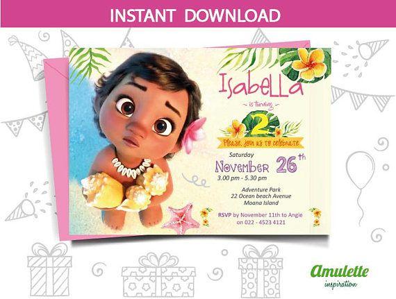 Moana First Birthday Invitation Baby
