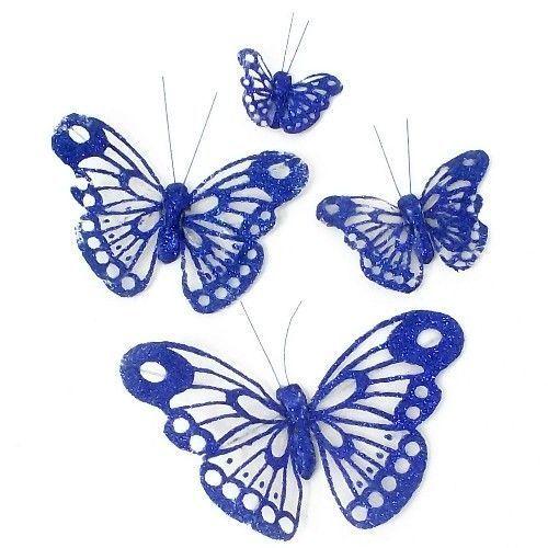 12cm organza butterfly pack of 12 blue butterflies wedding wedding supplies ebay junglespirit Image collections
