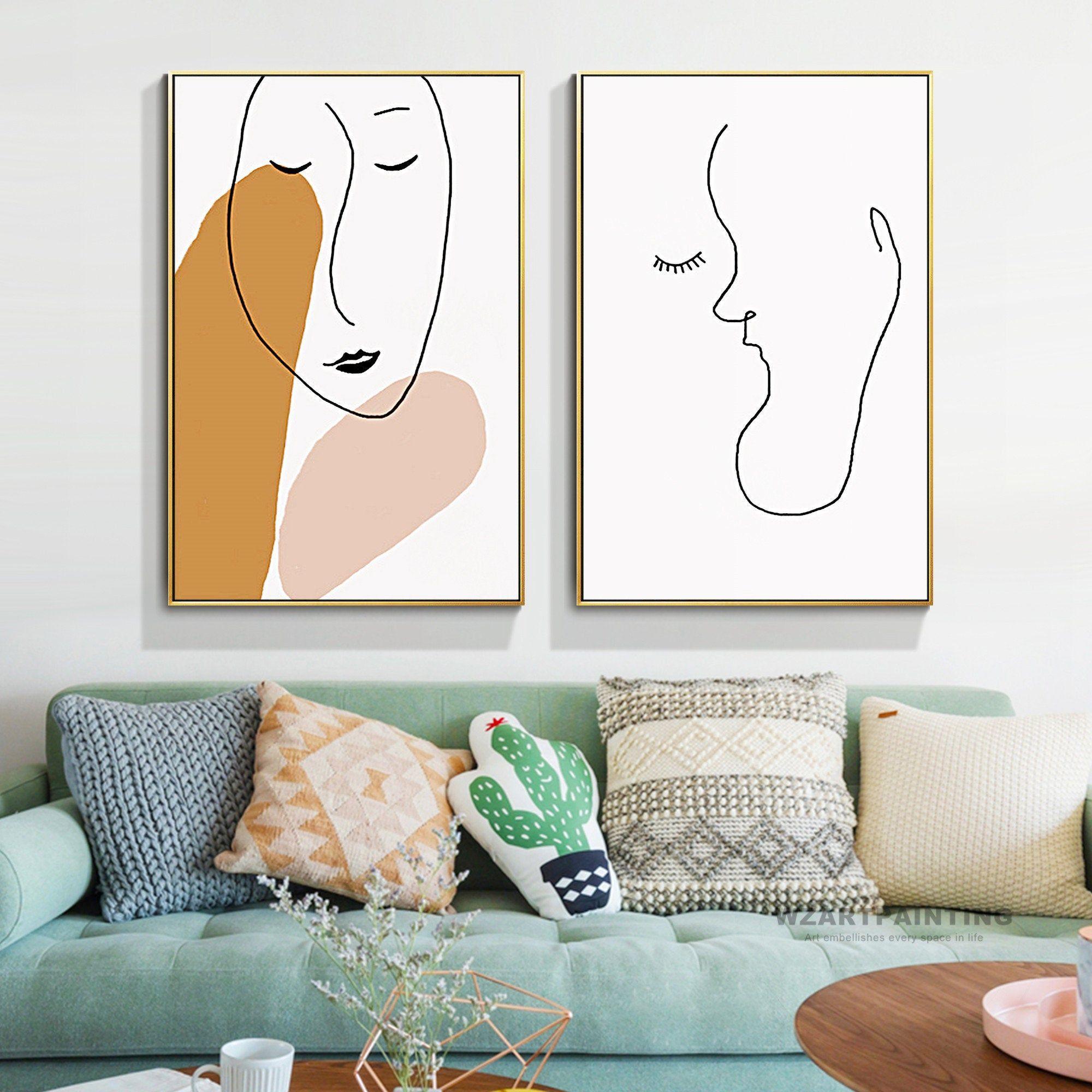 Framed wall art set of 2 prints minimalist line art woman