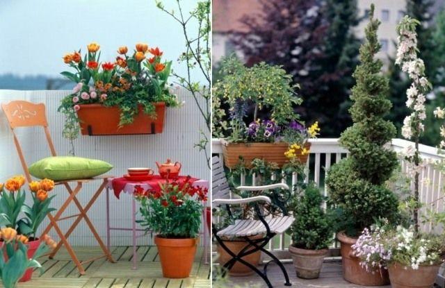 Balkon Wohnung gestalten Frühlingsblumen Ideen #sichtschutzfürbalkon