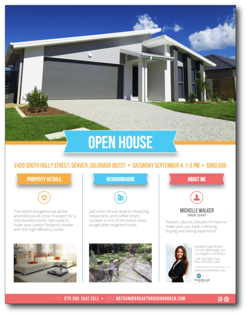 For Sale by Owner Free Flyer Template by Hloom – Real Estate Open House Flyer Template