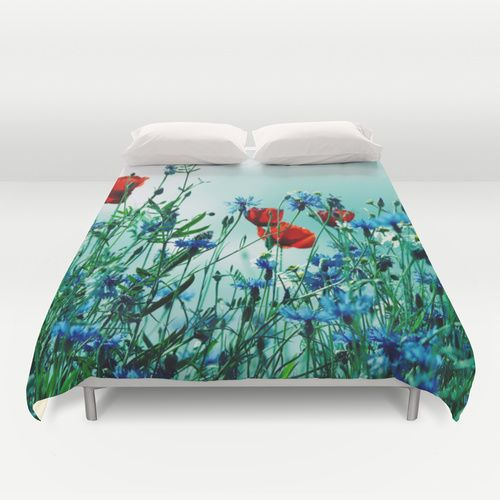 Cornflowers, poppies and chamomile in vintage look Duvet Cover