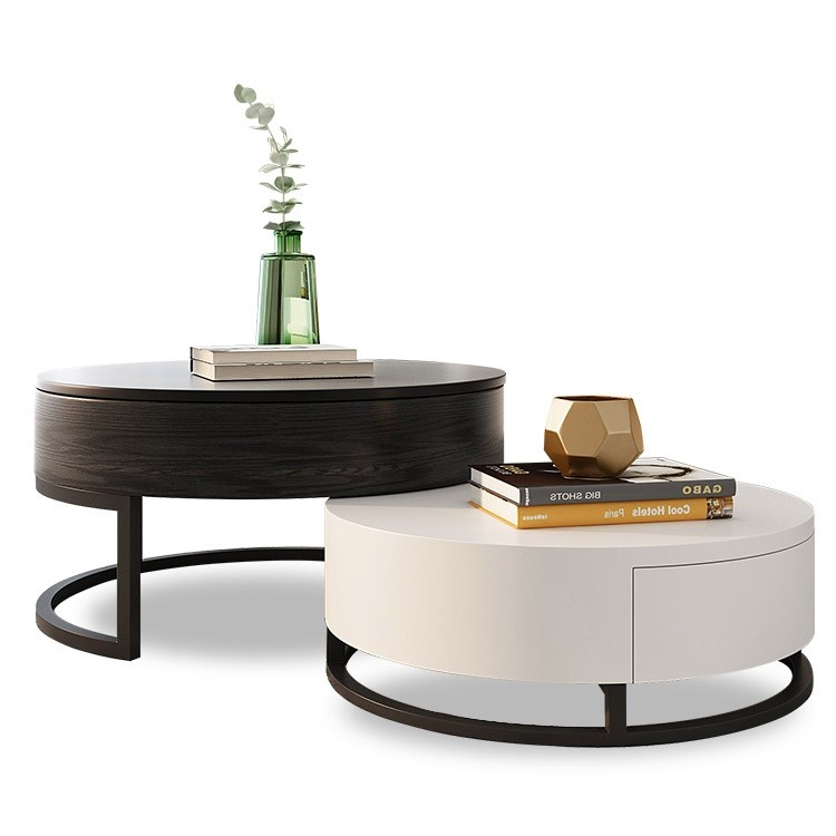 Modern Round Coffee Table With Storage Lift Top Wood Coffee Table With Rotatable Drawers In White Natural White Black Marble White Round Coffee Table Modern Round Coffee Table Living Room Coffee Table Wood