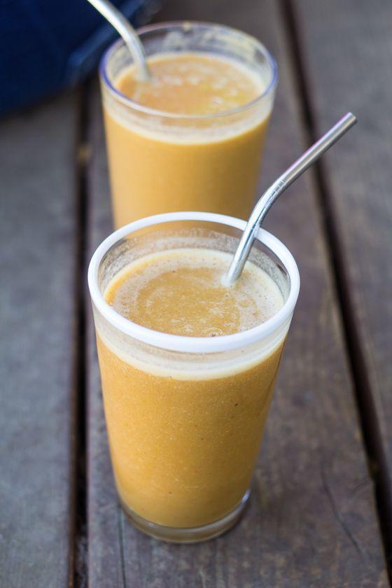Best ever Pumpkin - Coffee Smoothie recipe, made with Silk Vanilla Almondmilk!