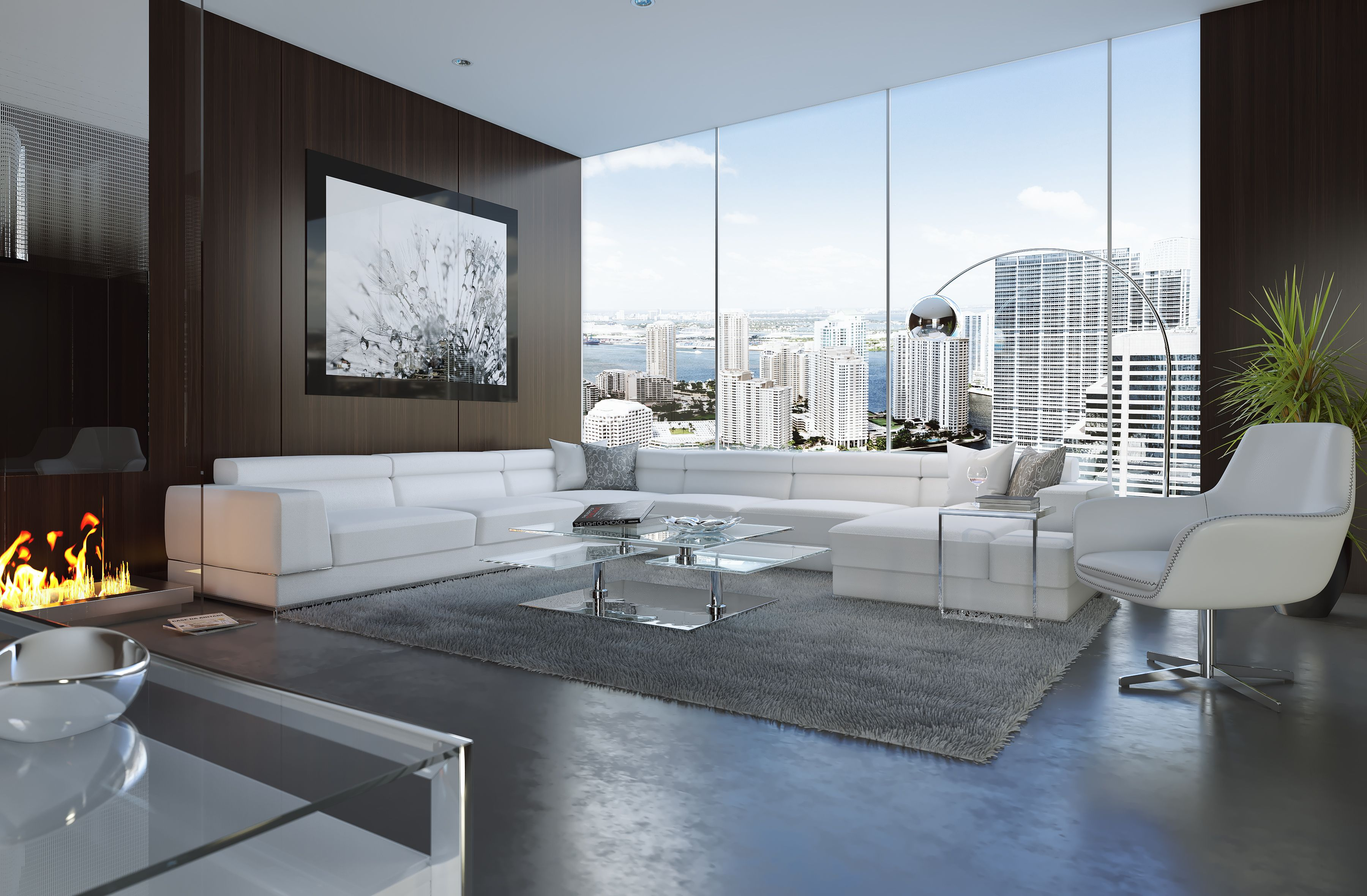 Live Grand With The Bergamo Sectional Leather White Sofa