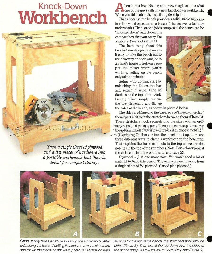 3218 Knock Down Workbench Plans Work Solutions
