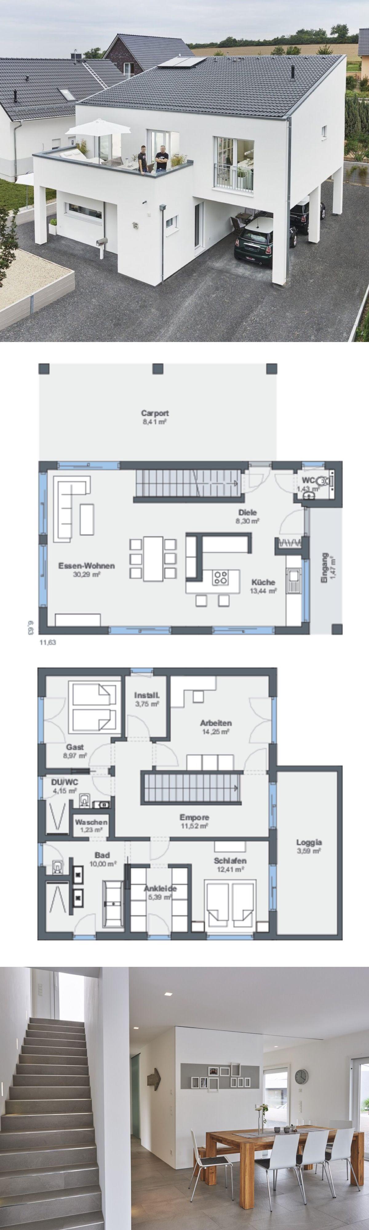 Modernes Haus mit Pultdach und Carport
