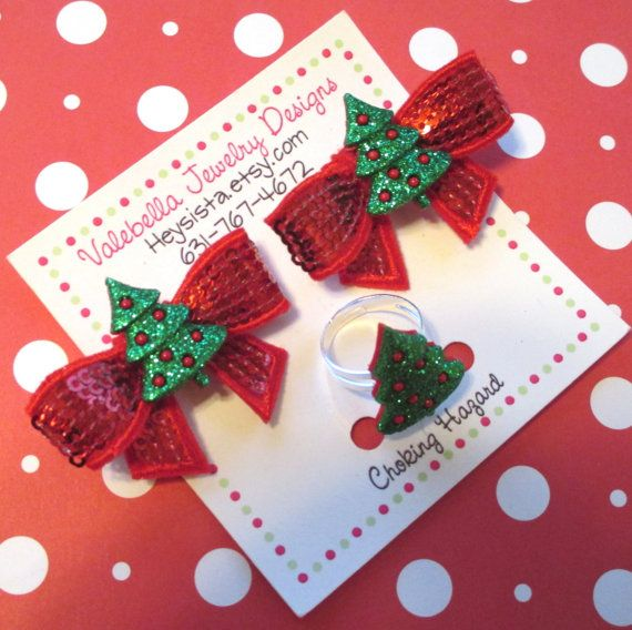 O Christmas Tree sequin hair clips & adjustable ring set by heysista