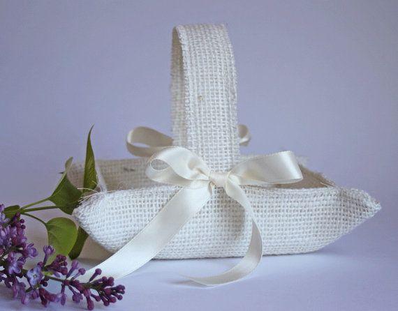 Little ivory burlap flower girl basket handmade by NutfieldWeaver, $22.50