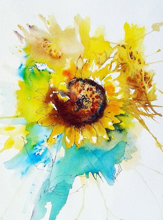 Original Painting Unique Ready To Frame Sunflower Illustration