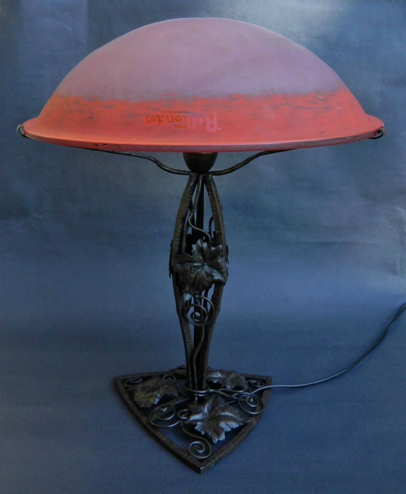 Détails sur 1930 rethondes degue grande lampe art deco fer forge pate de verre french lamp