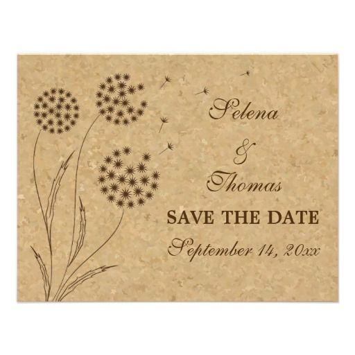 The Vintage Wedding At Cork Factory: Brown Stylized Dandelion And Cork Vintage Wedding Save The