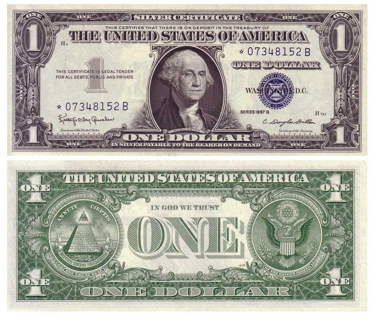 Series 1957 B 1 Silver Certificate Star Note Granahan Dillon