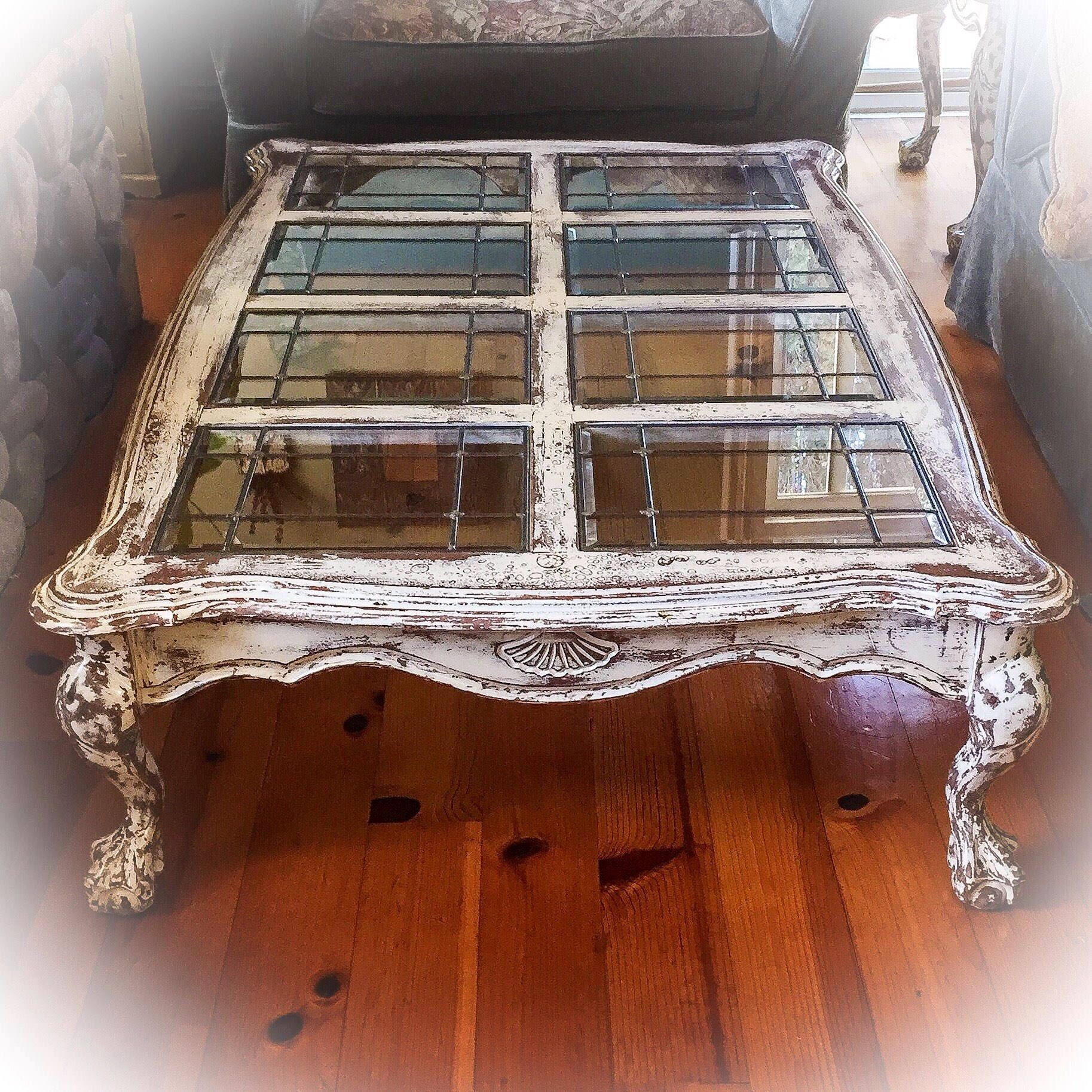 Farmhouse Antique Coffee Table 5 distressed white copper