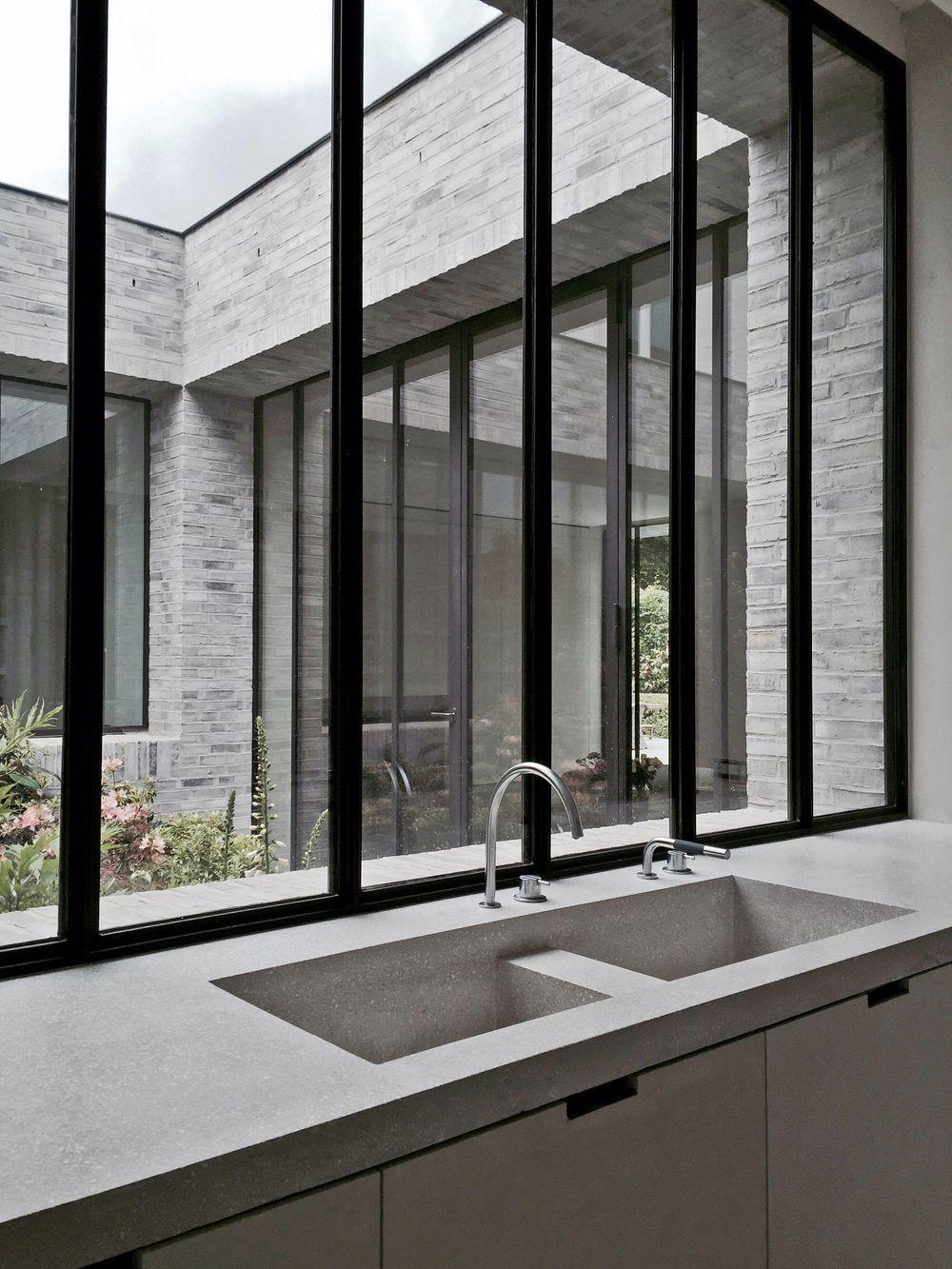 Kitchen with dark window frames. Design by Marc Merkx. | KITCHEN ...