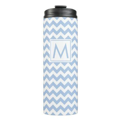 Light Blue and White Chevron Stripes with Monogram Thermal Tumbler ...