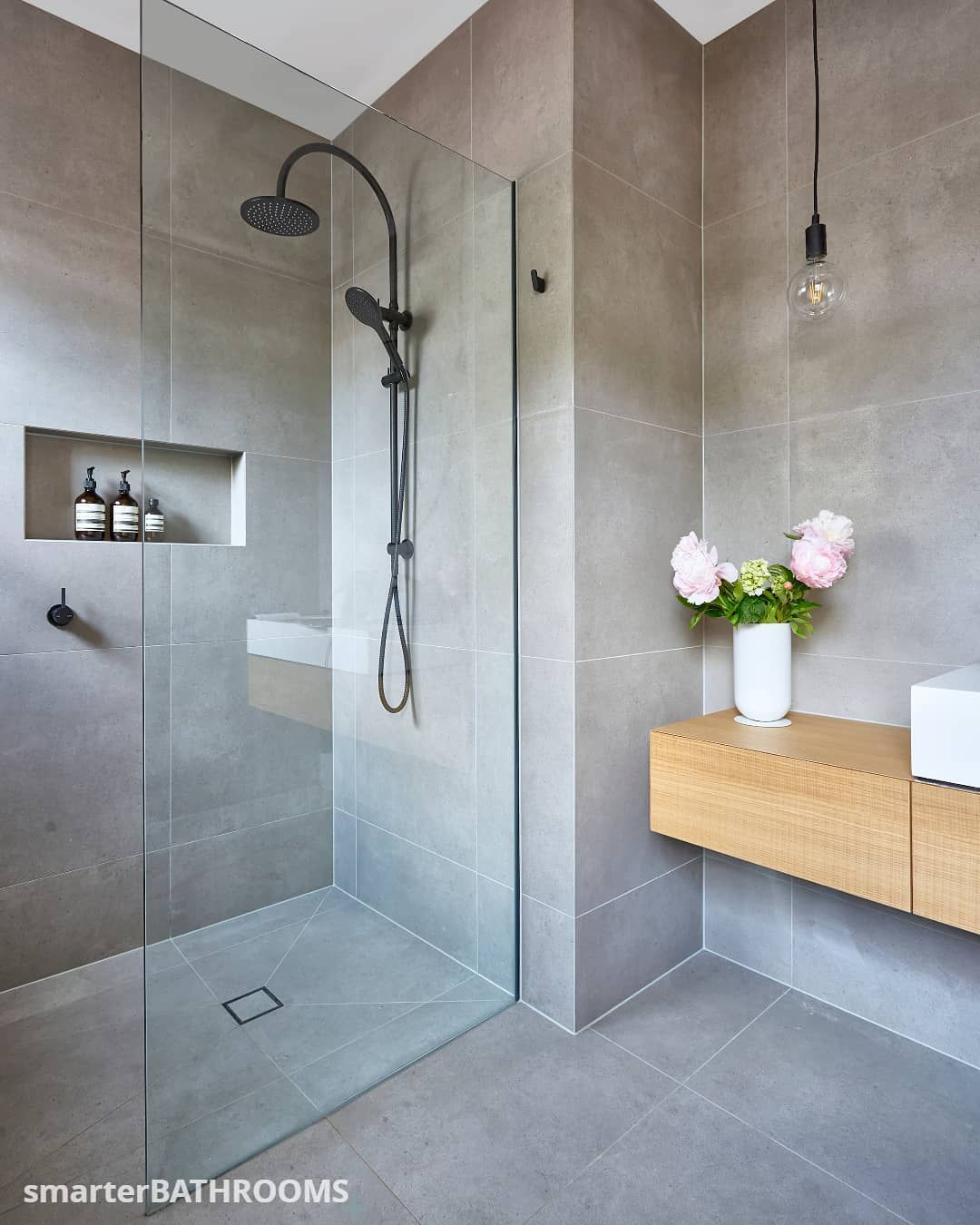 The Inclusion Of A Large Frameless Open Shower In Our Alphington Bathroom Adds An Element Bathroom Interior Design Bathroom Interior Bathroom Remodel Designs