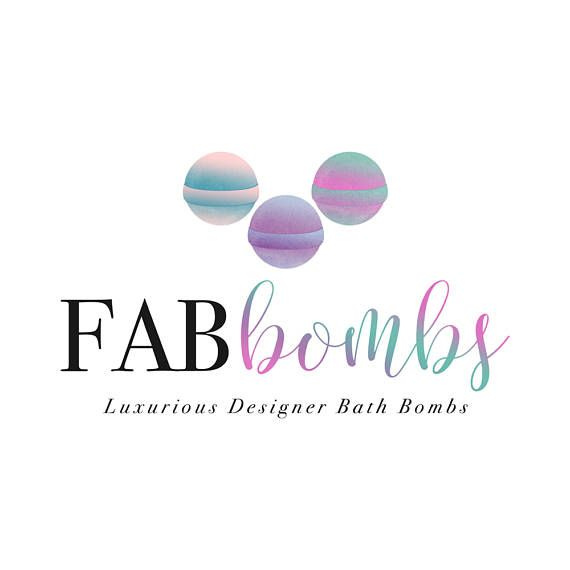 Bath Bomb Logo Ooak Watercolor Logo Bath And Body Soap Logo With