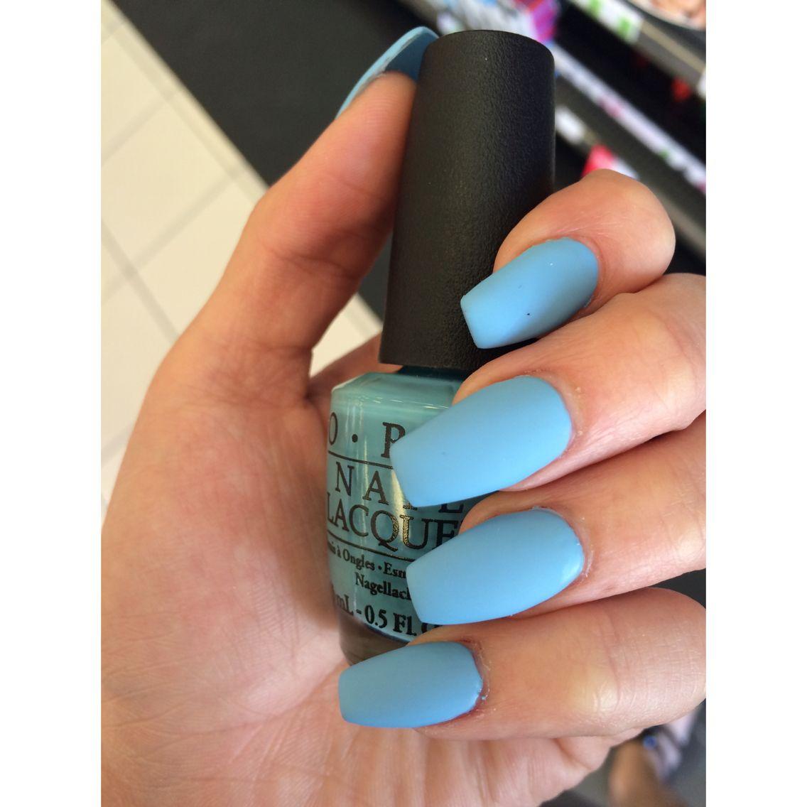 Matte baby blue coffin nails | Nails | Pinterest