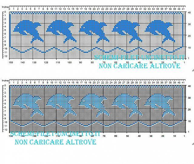 Schema Bordo Filet Gratis Con Piccoli Delfini Azzurri Larghezza 35