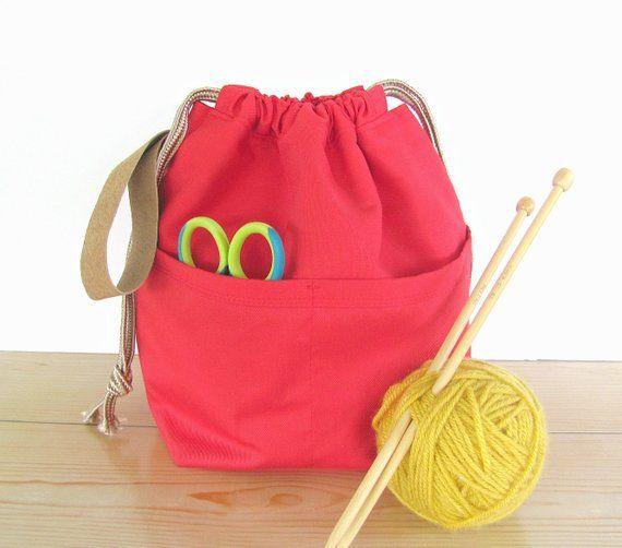 Red knitting bag, big pockets project bag for knitting