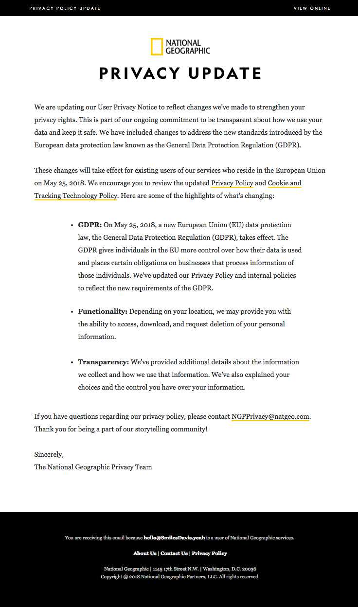 Nationalgeographic Sent This Email With The Subject Line Improvements To Our Privacy Policy Read About This Email And Fi Privacy Policy Policies Best Email