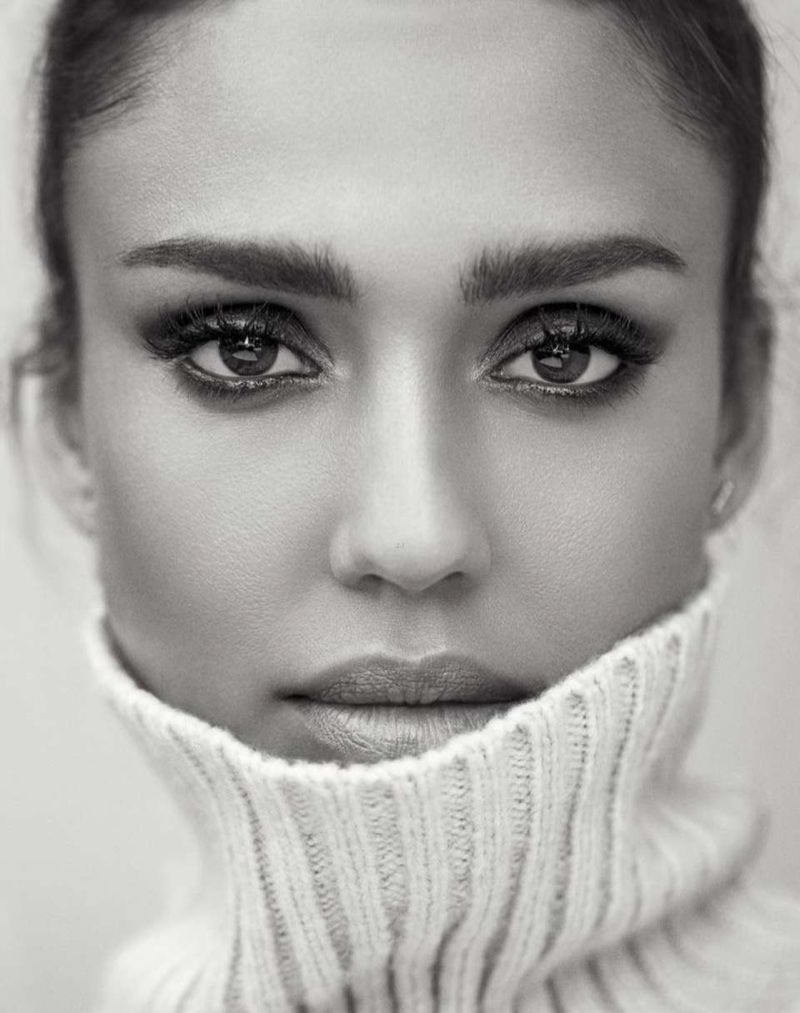 Actress Jessica Alba gets her closeup in a turtleneck sweater for Shape Magazine October 2016 issue