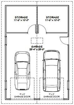 24x36 2 Car Garage With Storage Space But Do Single Garage Door And