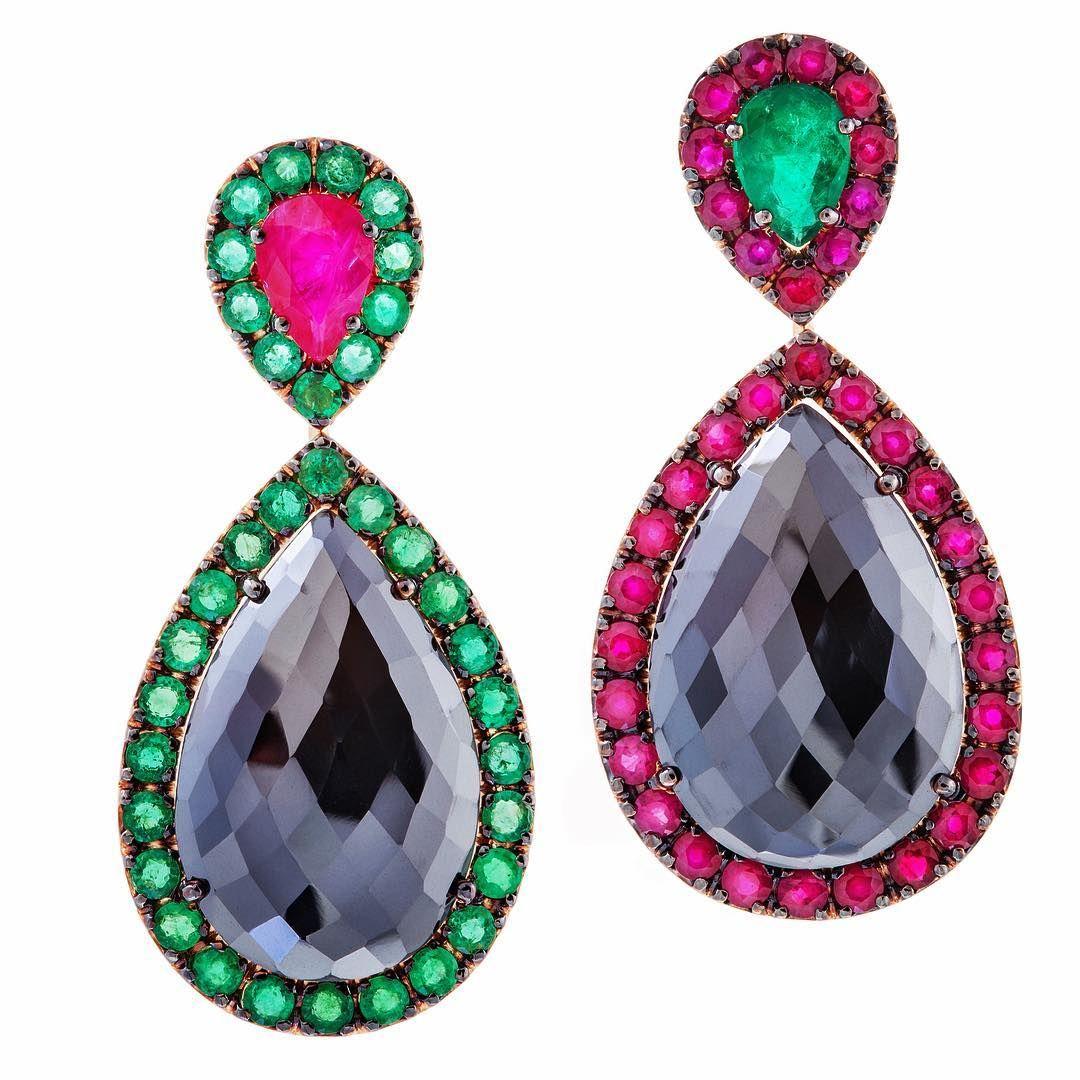 Thaliaexarchou earrings gold diamond blackdiamond emerald ruby