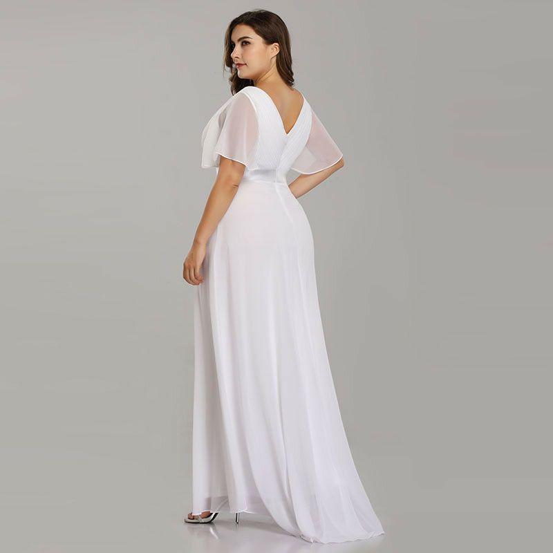 68407028ab3b2 Ever-Pretty White Long Bridesmaid Dress Cap Sleeve Chiffon Maxi Party Dress  9890 #Ad