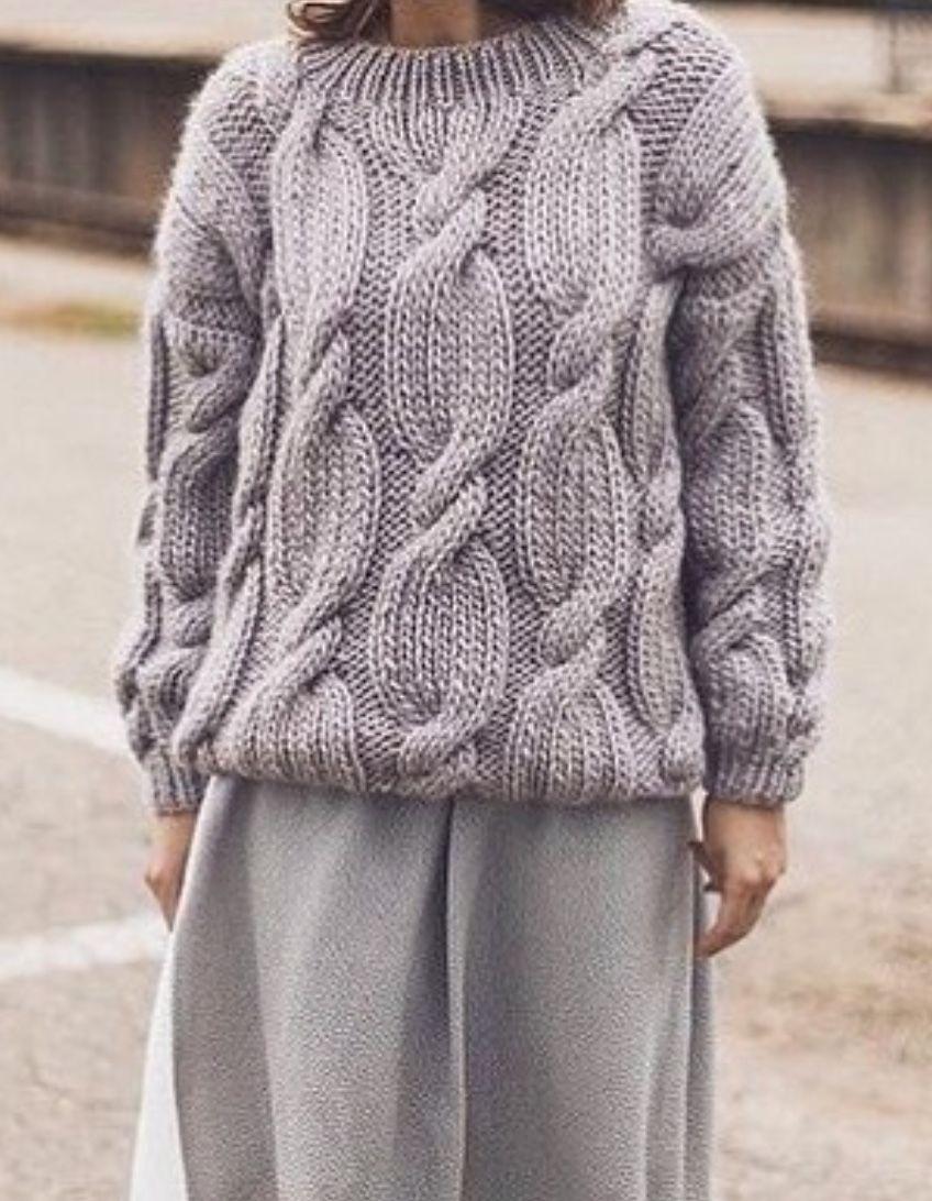 свитер с крупными косами Mammita Knitting свитер ручное вязание