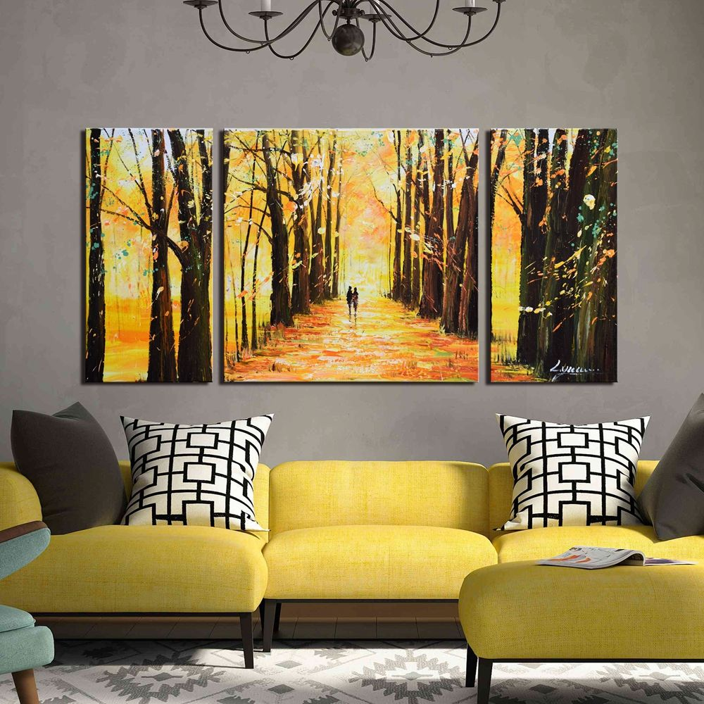 ARTLAND Hand Painted Canvas Landscape Wall Art \'Little Forest Autumn ...