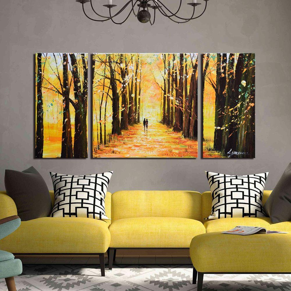 ARTLAND Hand Painted Canvas Landscape Wall Art \'Little Forest Autumn ...