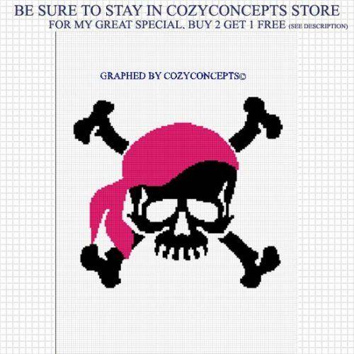 Skull And Crossbones Pink Bandana Crochet Pattern Afghan Graph