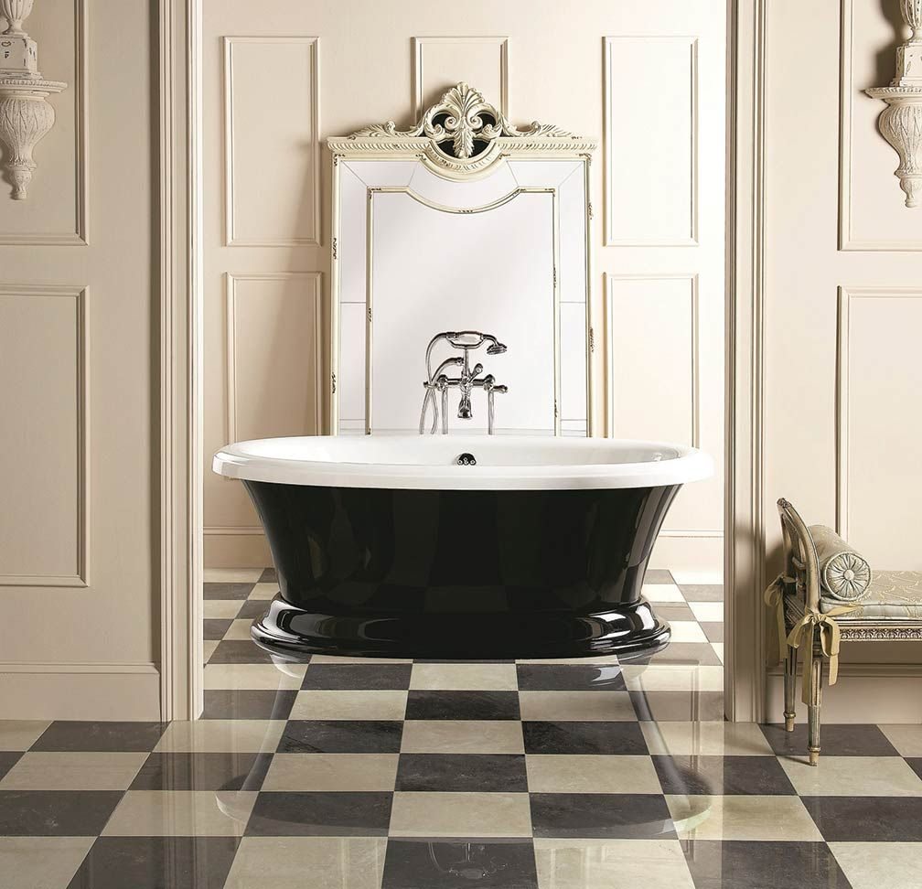 serene-victorian-bathroom-design-with-checkerboard-floor-also-retro ...