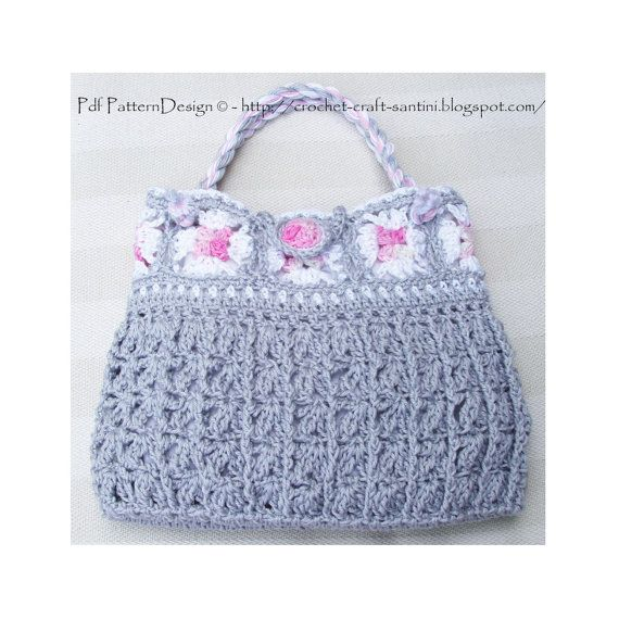 Granny Square Grey Bag  Crochet Pattern  von PdfPatternDesign