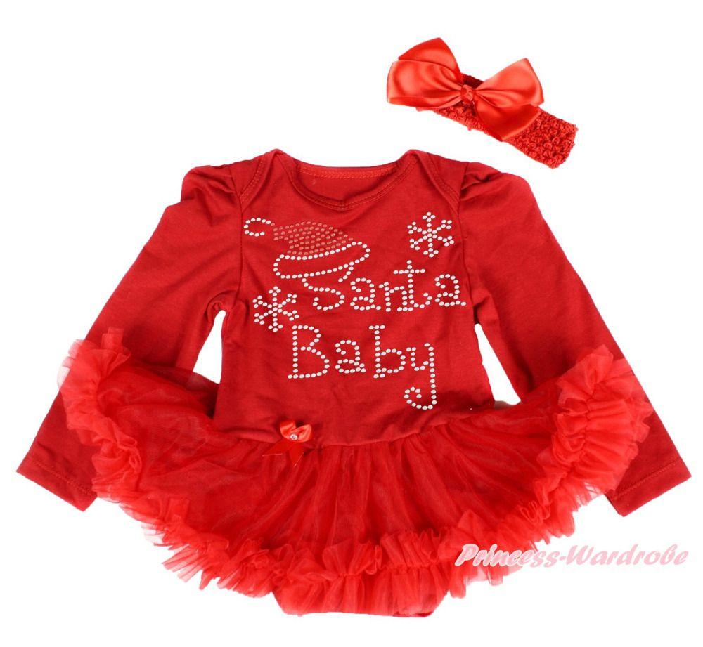 4cfbb8a10 Click to Buy    Infant XMAS Rhinesotone Santa Baby L S Bodysuit ...