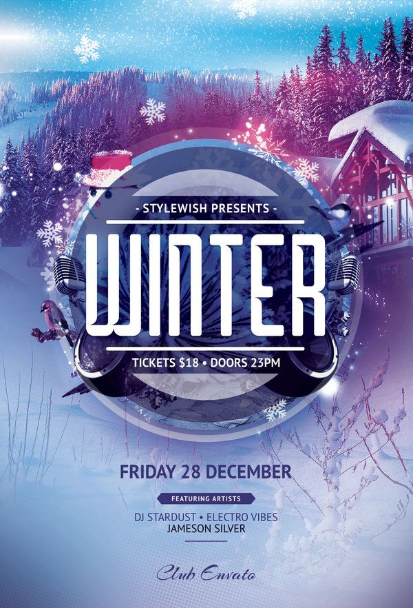 Winter Flyer Template by styleWish on Graphicriver Pôster Flyer