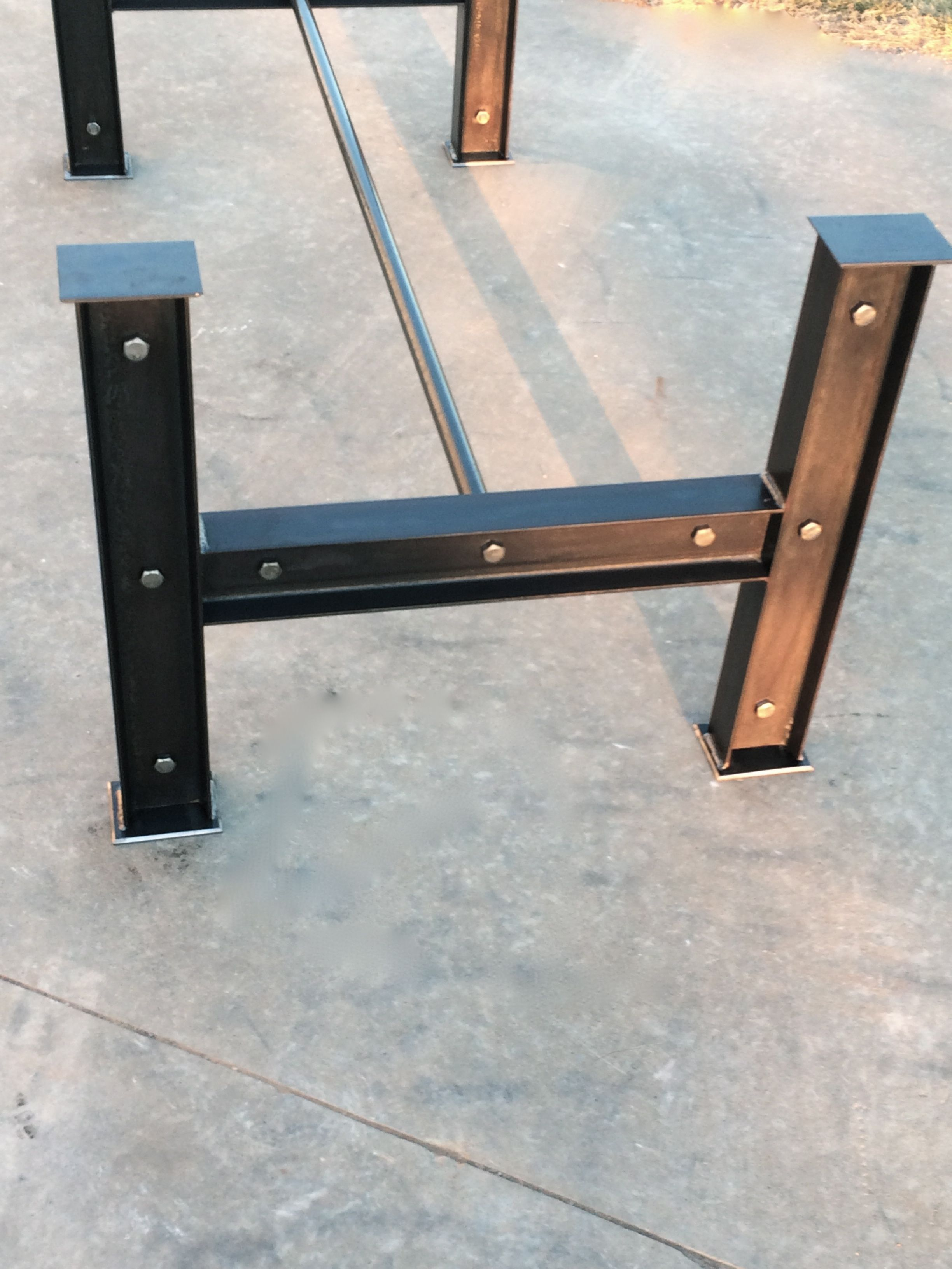 Custom made i beam table base for the home garage for Steel dining table design