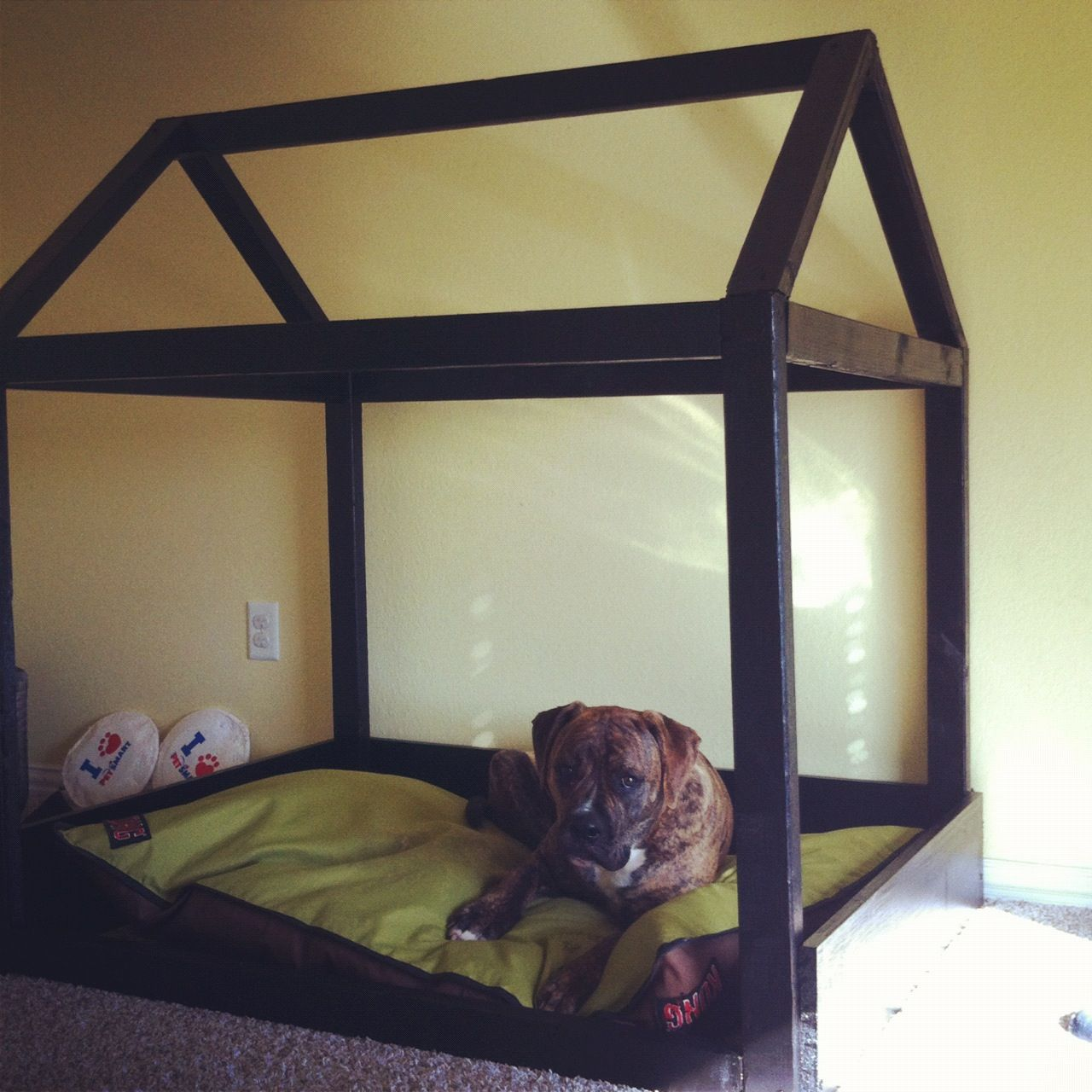"""DIY Dog Bed. I would add a """"ceiling"""" and cover the roof"""