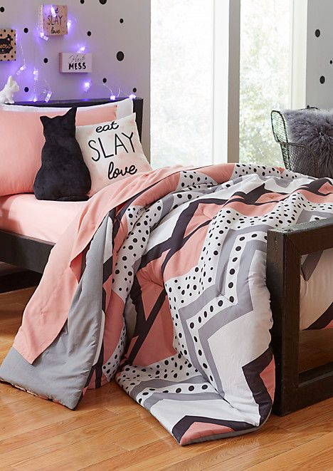 Twin - Coral Dotted Chrvron 5-Piece Comforter Set | rue21 | rueDecor ...