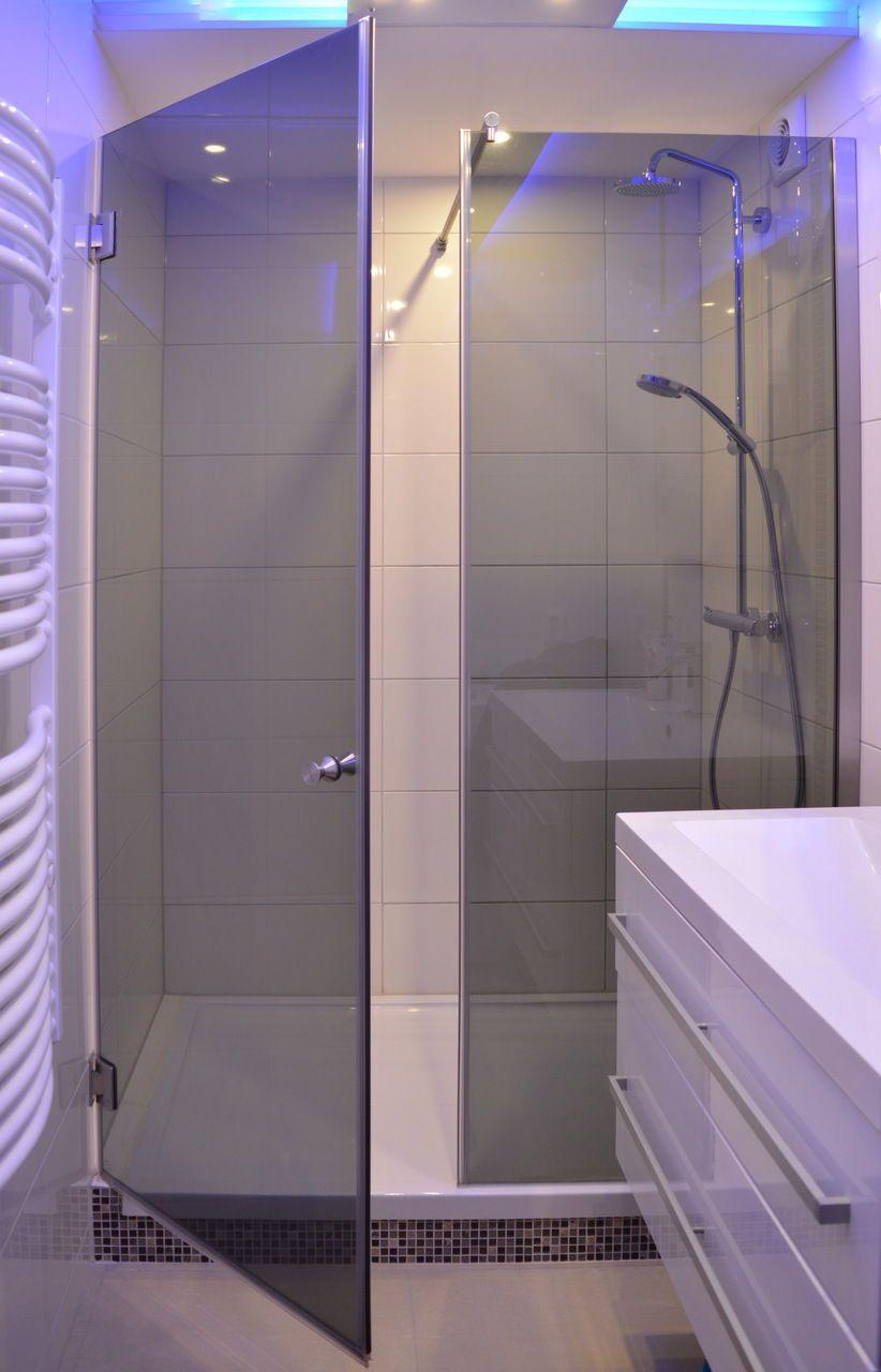Getonte Nischendusche Duschabtrennung Badezimmer Planen Glasduschen