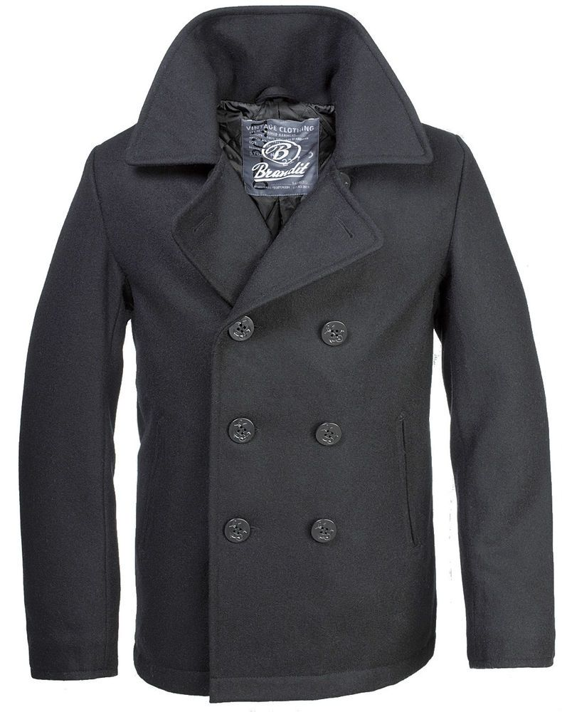 a6082b051612 BRANDIT CLASSIC VINTAGE NAVY PEA COAT MENS ARMY REEFER WOOL MARINE JACKET  BLACK   Clothes, Shoes & Accessories, Men's Clothing, Coats & Jackets    eBay!
